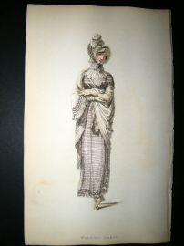 Ackermann 1814 Hand Col Regency Fashion Print. Walking Dress 12-24